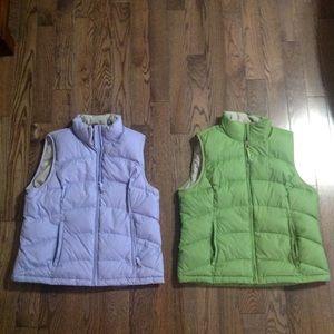 Bundle 2 L.L. Bean quilted vest, green, lavender